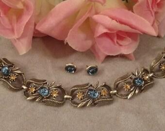 CORO Bracelet, Earrings, Repurposed Matching Design, Blue Starburst