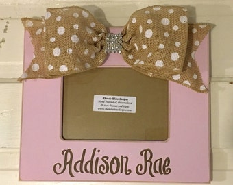 Shabby Pink Frame with Burlap Polka Dot Bow