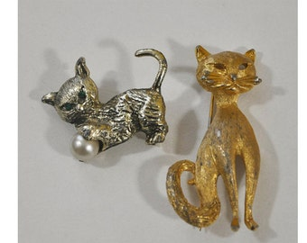 Lot of  2 Vintage Cat Pins Brooches 1 Signed BSK