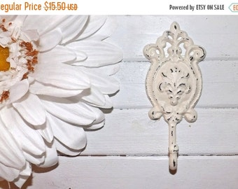 SUMMER SALE Iron Wall Hook / Shabby Chic  Decor / Ornate Cast Iron Hook   /Metal wall hook /Bathroom hook / Fixture / Shabby Chic Decor