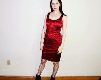 90s red satin rose print corset lace up back dress size 8