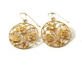gold plated sterling silver earrings , valentine gift earrings,filigree lace earrings
