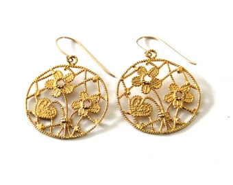 gold plated sterling silver earrings , valentine gift earrings,filigree lace earrings