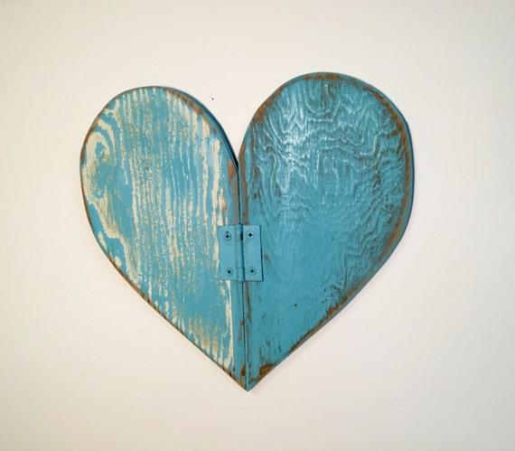 Weathered wood wall decor : Heart small blue weathered wood wall art by castawayshall