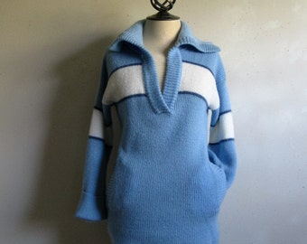 Vintage 70s Helen Harper Sweater Blue White Two Tone Stripe Casual Knit Pullover Top Small