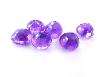 7mm Natural Round Amethyst. African Grape Jelly Color. 'Diamond' Cut. Set Table Down For Rose Cut Effect. 6 pc. 8.47 cts.  (AM1407)