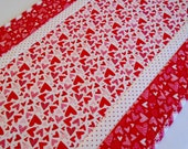 Valentine Table Runner, Quilted Table Runner, Table Topper, Table Quilt, Hearts, Red and White