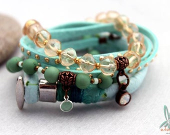 Mix & Match mint/soft yellow - Bohemian chic, stacked set of 4 handmade bracelets in mint green and soft yellow