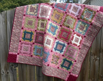 Rose, pink, muave hand-quilted throw or wall quilt