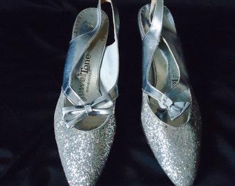 Shiny Glitter SILVER Vintage 1970's Women's DISCO Dancing Shoes Pumps 7