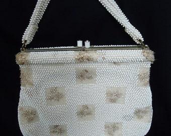 White BEADED Floral Vintage 1950's Rockabilly Evening Bag Purse
