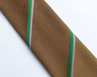 Vintage 60's Skinny Tie in Camel Brown with Green Lilac Tan Diagonal Stripes