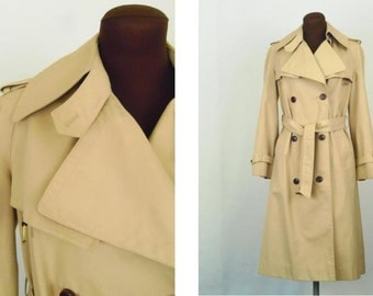 Vintage 70's Women's Trench Coat Raincoat Double Breasted Leather Trim Size S / M