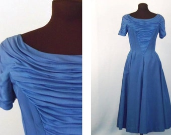 Vintage 50's Dress Cocktail Party Dusty Blue Taffeta Size XS