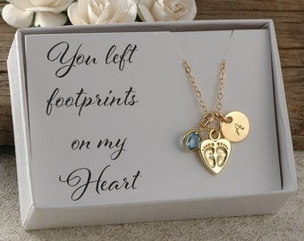You left footprints on my heart, gold miscarriage necklace, infant loss, memorial for baby, stillborn gift, birthstone and initial disc