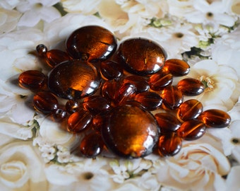 29 Root Beer or Copper Colored Glass Beads 3 Different Sizes ~ Enough for Choker  Length Necklace DIY Jewlery Supply