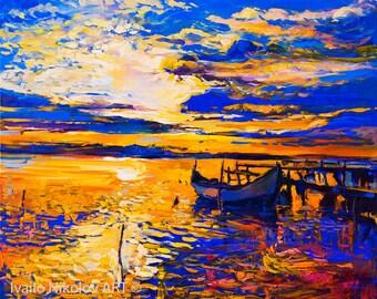 Original Oil Painting on Canvas-Colors2 24x20 Seascape Painting-Original Modern Art-Impressionistic Oil by Ivailo Nikolov