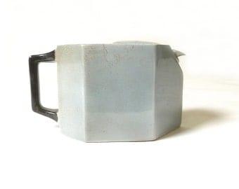 Rare Vintage Gray Geometric 1920s Art Deco Tea Pot ... World's First Non-Drip Teapot, G. M. Creyke & Sons, English, Art Deco, Staffordshire
