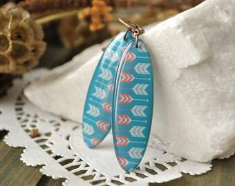 Arrow resin earrings - arrow dangle earrings, green arrow earrings, turquoise arrow earrings, native resin jewelry - ready to ship