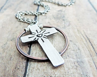 Sterling Silver Cross Necklace - Mixed Metal Christian Jewelry - Stamped Heart - Rustic - Contemporary