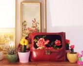 Burgundy messenger over the shoulder tote bag, vintage needlepoint purse, large leather crossbody bag for women