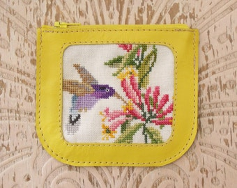 FREE shipping, Yellow leather coin purse with bird needlepoint