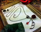 Phantom of the Opera Blood Red Rose & Mask Pendant Necklace Crystal Antiqued Silver Filigree Titanic Temptations Vintage Victorian Jewelry