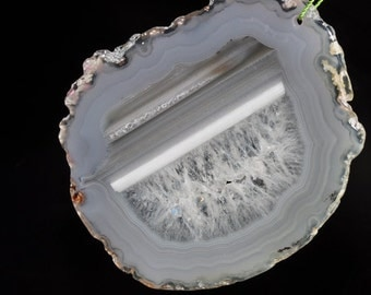 Listed @ 15%Off Sale Was 16.99---61x72x4mm Natural Crytallized AGATE Geode Slice Slab X-Large Organic Free Form Focal Pendant - N0938