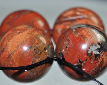 4 Pieces 16mm Artful Confetti~Brecciated RED FLAME JASPER Large Round Beads - B0985