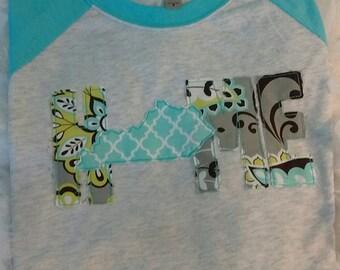 Kentucky Home Raglan applique t-shirt