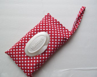 Baby wipes Cover For HUGGIES 32Wipes/White Dots On Red
