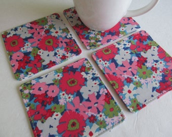 Set Of 4 Fabric Coasters/Flower