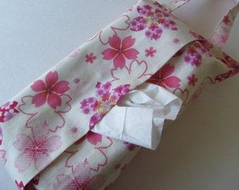 Hanging Tissue Box Cover For Skinny Kleenex/Sakura/Cherry Blossom