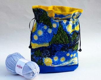 Knitting Crochet Project Bag, Medium Zipper or Drawstring, Starry Night Print fabric