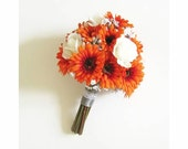 Gerbera Daisy and Rose Bridal Bouquet, Gerbera Daisies and Roses, Wedding Bouquet, Bridesmaids Bouquet, Wedding Floral Package