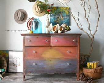 Summer Sunsets Series #4 Dresser - Bohemian Farmhouse Coastal Cottage Table Storage