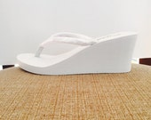 """Bright White Wedged Heel.3.0"""" Extra charge.SAMPLE PHOTO."""
