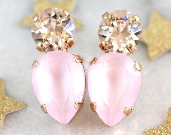 Petal Pink Earrings,Rose Quartz Bridal Earrings,Swarovski Pink Stud Earrings,Powder Pink Earrings,Bridesmaids Earrings,Gift For Her