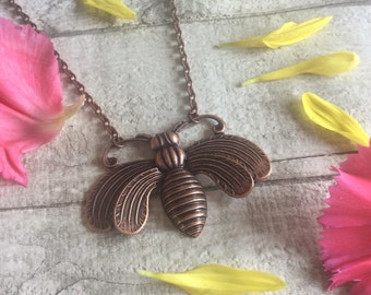 Queen Of The Bees Antique Copper Bee Necklace By Melissani Jewellery