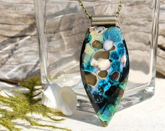 LARGE Fused Glass Pendant, Fused Glass Jewelry, Organic, Pebbles, Stones, Jewel Tones - Blue Black Brown Green Multi-Colored (Item #10742-P)