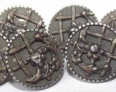 Antique Buttons small metal Steel cups