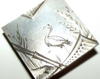 Antique Button Gorgeous Silver Aesthetic Period Heron Bird & Bamboo