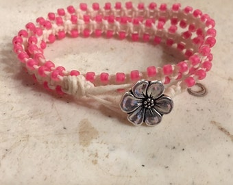 Cream Wrap Bracelet - Pink Seed Beads Beads - Macrame Jewelry - Waxed Linen Cord - Fashion - Trendy - Beaded - Silver Flower Button