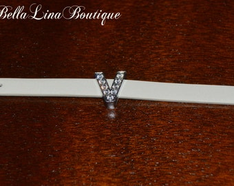 """Letter V European Stainless Steel and Crystal Initial Monogram Bracelet on Off White Adjustable Band - Fits 5-7"""" Wrist - Ready to Ship!"""