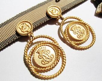 Vintage ANNE KLEIN Earrings, Statement Earrings, Clip On Earrings, Majestic 80s Earrings, Coat of Arms Earrings
