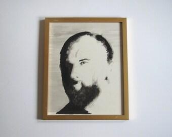 Vintage watercolor portrait of a man/ black and white portrait/ original painting