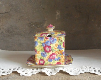 Vintage Jam Jelly Jar w Lid and Plate Chintz Royalty Royal Winton