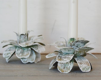 Vintage Verdigris Floral Candle Holders - Set of Two