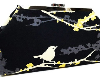 Clutch Purse - Black Yellow Grey Bird, Gifts For Her