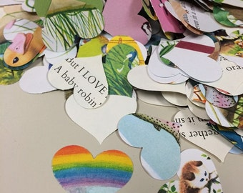 Heart Confetti Hand Punched from Childrens Books Over 500 Punches -- Rippy Bits by TangoBrat